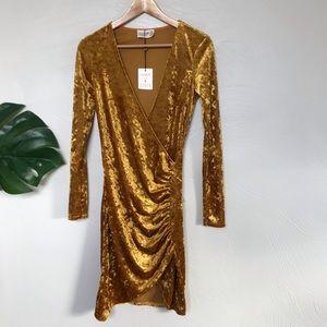 Club London Yellow/Gold Crushed Velvet Dress